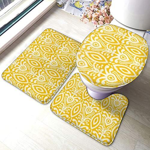 Juego de alfombrillas de baño superabsorbentes, diseño geométrico amarillo, 3 piezas, con alfombras antideslizantes, tapa de inodoro y alfombrilla de baño