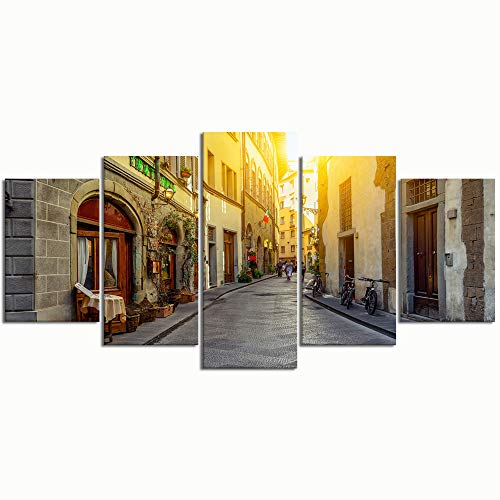 PENGTU Paintings Modern Canvas Painting Wall Art Pictures 5 Pieces, Narrow Street Florence Tuscany Italy Architecture,Wall Decor HD Printed Posters Frame