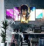 5 Pieza Cuadro En Lienzo 5 Piezas Cuadros Lienzo Modular Decoración Pared Póster con Marco,Murales Pared Hogar Decor-Anime Sword Art Online Asuna Marco(150X80CM)