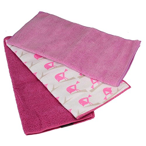 MACOSA KL4-13039_p 3er Set Spül-Tücher Poliertücher Mikrofaser Pink Putztuch Reinigungstuch Putz-Lappen Mikrofasertuch saugstark &...