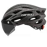 YingQ Bike Helmet Cascos De Ciclismo De Bicicleta Moldeados De Forma Integrada Luz Trasera De Seguridad con Visera De Gafas Hombres Mujeres Casco De Bicicleta De Montaña MTB-Gris