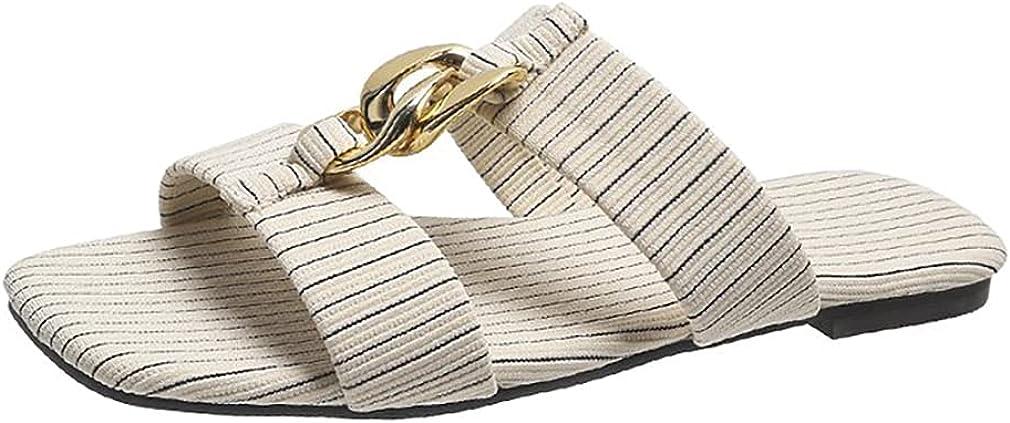 heelchic Women Sexy Metal Chain Slide Sandals Summer Comfortable Square Toe Flat Sandals