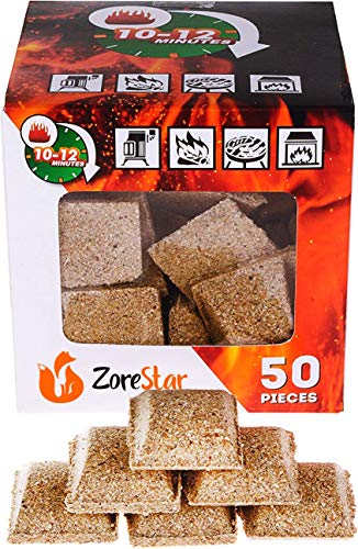 Fireplace Starter Cubes - Fire Starter Squares 50pc - Firestarters for Indoor Fireplace - Natural Wood and Wax fire Starter - BBQ and Grill Charcoal Starters Burns 10-12 min