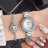 Watch Bracelet Set, Business Casual Watch Womens Wristwatch Bangle Jewelry Set for Girls Ladies Fashion Watches Bracelet Kit Birthday Gift for Girlfriend Valentines Mothers Day Gift (15_White)