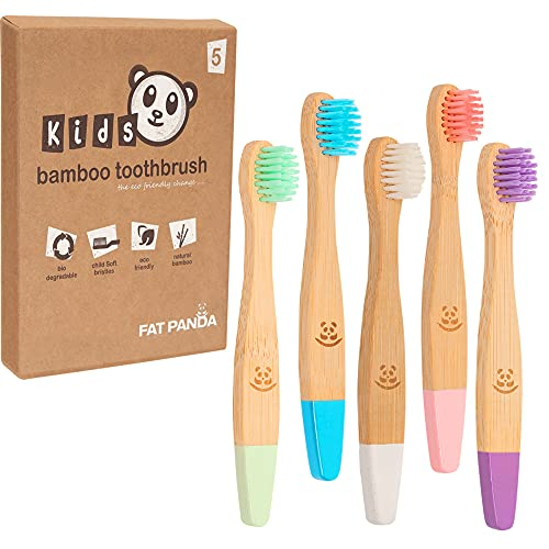 Kids Bamboo Toothbrushes   Perfect for Toddler   5 Vibrant Colours   BPA...