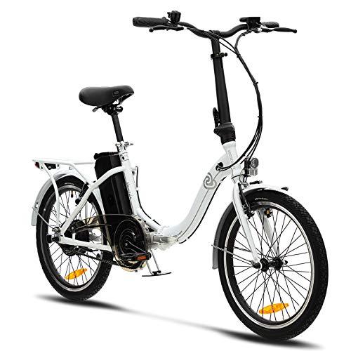 VecoCraft Nemesis Elektro Klapprad,E Bike 20 Zoll,E-Folding Bike mit ausziehbarer Baterrie 36V 13Ah(468WH), 250W Motor, tragbares E-Bike Klapprad ebike Herren e Bike Damen mit niedrigem Rahmen,Weiss