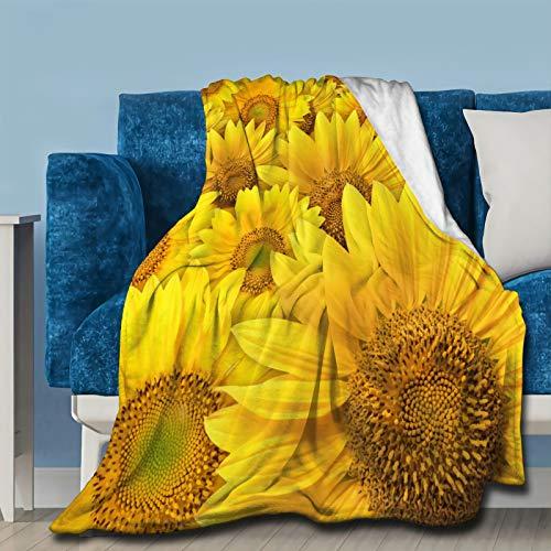 Sonnenblumen-Überwurf, Fleecedecke, Flanell, ultraweich, leicht, Mikrofaser, Luxus-Klimaanlage, Steppdecke für Sofa, Schlafzimmer, Büro, Reisen, alle Jahreszeiten, M 152,4 x 127,7 cm