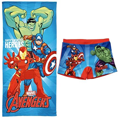 ARTESANIA Y DISEÑO TEXTIL, S.A. Bañador Avengers Los Vengadores Tipo Bóxer para niños + Toalla Vengadores Microfibra para Playa o Piscina (Rojo, 8 años)