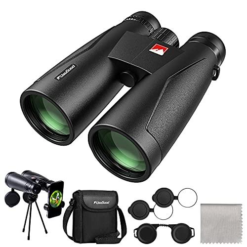 12x50 Professional Binoculars for Adults, Usogood High Power Binoculars for Bird Watching, Hiking, Hunting and Stargazing with Tripod Phone Adapter, BAK-4 Prisms & FMC, Nitrogen Filled, IPX7