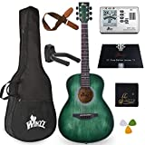 WINZZ 3/4 Dreadnought Acoustic Guitar Bundle with Online Lessons, Bag, Metronome Tuner, Wall-mounted Hanger, Strap, Picks & Cleaning Cloth,36 Inches Right Handed, Dark Hunter Green
