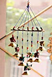 Click n ship Handcrafted Elephant Design Wood Windchime (18 inch, Multicolor)