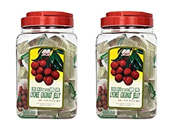 Jin Jin Lychee Coconut Candy Jelly Cups 52.9 Ounce Container  Pack of 2