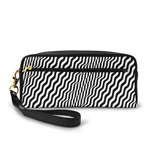 Pencil Case Pen Bag Pouch Stationary,Mild Waved Optical Illusion Stripes Monochrome Geometrical Print,Small Makeup Bag Coin Purse