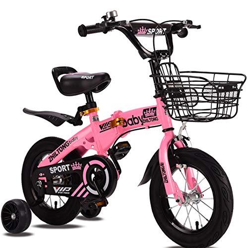 YWZQ Bicicletas para niños, Bicicletas para niños y niñas Los Asientos portátiles Aumentan Las Ruedas Hummer Assist Ruedas Plegables Bicicleta para niños Juguetes para niños Regalos,Pink,16inch