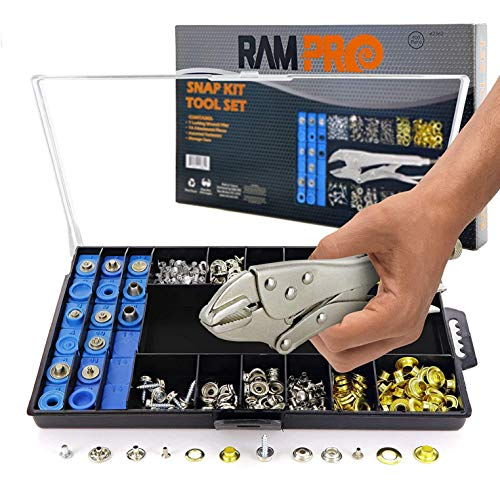 All-in-One Snap, Grommet, Eyelet & Rivet Plier Tool Kit Ideal Enclosure for Tarps, Shoes, Shower Curtains, Boat Covers, Arts & Crafts Etc - by Ram Pro