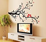 JAAMSO ROYALS Vinyl Flowers Birds Wall Sticker, 0.03 x 33.46 x 23.62 Inches, Multicolour