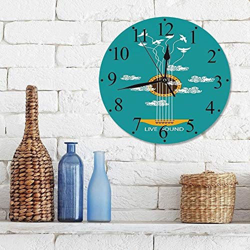 Wall Clock 12 Inch Silent Non Ticking Clock ,Guitar,Abstract Music Themed with Birds on Strings and Clouds Illustration,Turquoise Marigold Whit,for Decorative Living Room Bedroom Kitchen Office