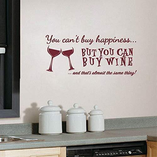 U kunt kopen Geluk Maar U kunt Wijn Vinyl Wall Art Quotes Sticker Huis Keuken/Bar Muurstickers Decoratieve 56 * 25cm