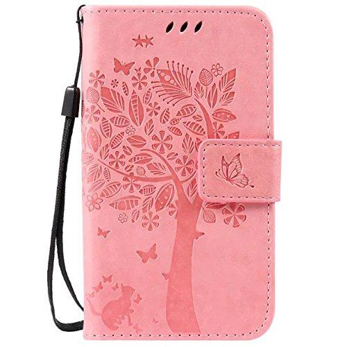 Sunrive Hülle Für LG K3, Magnetisch Schaltfläche Ledertasche Schutzhülle Hülle Handyhülle Schalen Handy Tasche Lederhülle(HPrägung Baum rosa)+Gratis Universal Eingabestift