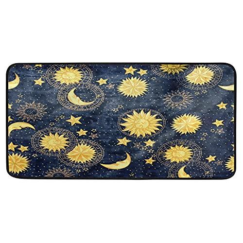 Alfombra de baño con diseño retro de luna y sol para cocina, antideslizante, para baño, interior, 99 x 50 cm