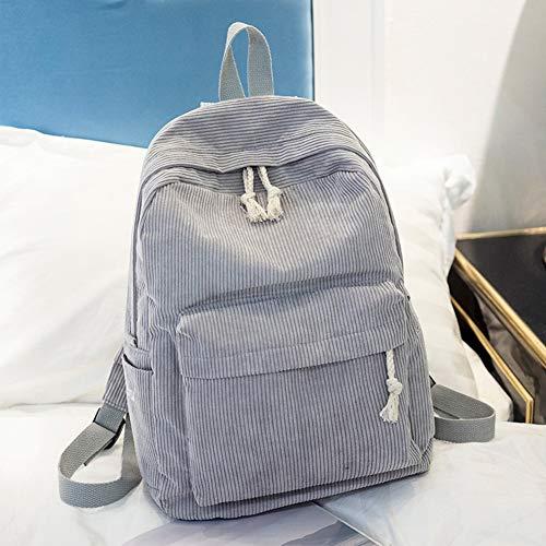 ZAK168 Fashion Damen Mädchen Studenten Kord-Rucksack Casual Schultasche Reisetasche einfarbig, grau, Free Size