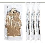 吊るせる圧縮袋 マチ付き衣類収納袋 冬物用 ダウンジャケット収納 洋服用 掃除機対応 大容量 再利用可能 あっしゅく袋 135*70*38cm*4枚入