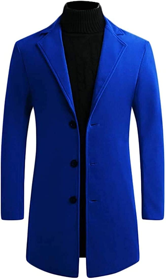 Men's Wool Blend Overcoat Single Breasted Fashion Slim Long Trench Coat