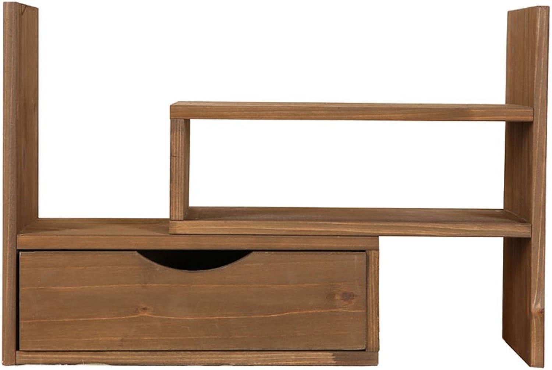 HLYRUS Japanese-style Creative adjustable Woody desktop Small bookshelves With drawer Filing Rack Book Shelf, Storage Desk Organizer File shelves Solid wood bookcaseoffice bedroom Storage rack