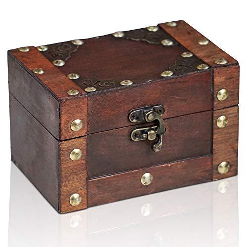 """Brynnberg Schatztruhe """"Rivet 14x9,4x8,7cm"""" – Schatzkiste klein, Holz Grau, Gewachst, Mit Deckel, Verschluss, Verzierung Metall, Piratenkiste, Aufbewahrungsbox klein"""