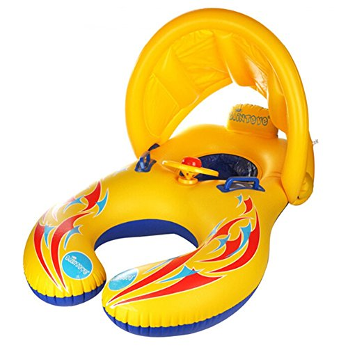 Qile Anillo con Piscina del Barco Balsa Tubo del Flotador-Sentado, Niño del Bebé, Anillo Lindo Nadadores y Natación para Bebés, para 1-3 Años de Edad (Amarillo)
