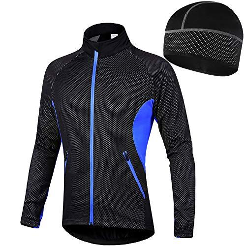 LFTYV Fahrradjacke Thermal Cycling Jacket Für Herren Mit Einem Vlieshut, Winddicht Reflective Breathable Soft Atmungsaktiv Laufjacke Fahrradoberbekleidung,C,L