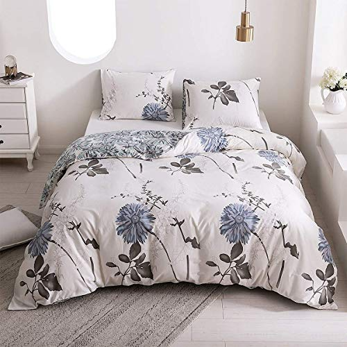 SIGOODS 100% Cotton Duvet Cover Sets, 2 Piece Luxury Soft Flowers Bedding Set,White Floral Bedding Comforter Cover Sets with Zipper Closure and Corner Ties, Pale Blue Flowers, Full