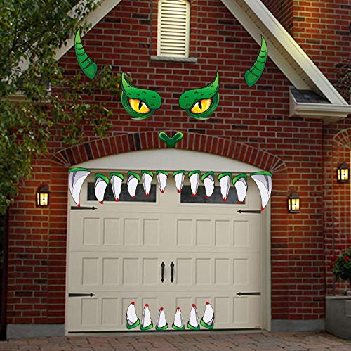 JoyTplay Halloween Dekorationen im Freien, Monster Face Halloween Garagentor Dekoration