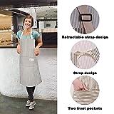 Happylohas Sterne Schürze mit Tasche Baumwolle Leinen Damen Küchenschürze Latzschürze Kochschürze zum Kochen oder Backen beige - 3