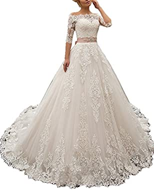 Nicefashion Sweetheart Half Sleeve Ball Gown Lace Wedding Dress with Beaded Belt