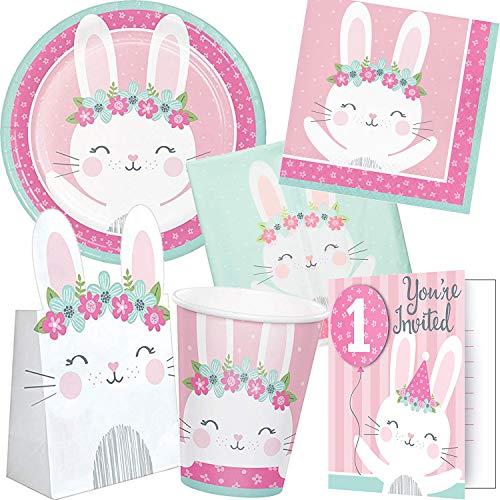 101-tlg. PARTY SET BIRTHDAY BUNNY für Kindergeburtstag mit 8 Kinder: Teller, Becher, Servietten, Einladungen, Tischdecke, Partytüten, Deko   Geburtstag Motto Mottoparty Hase Häschen Kaninchen rosa