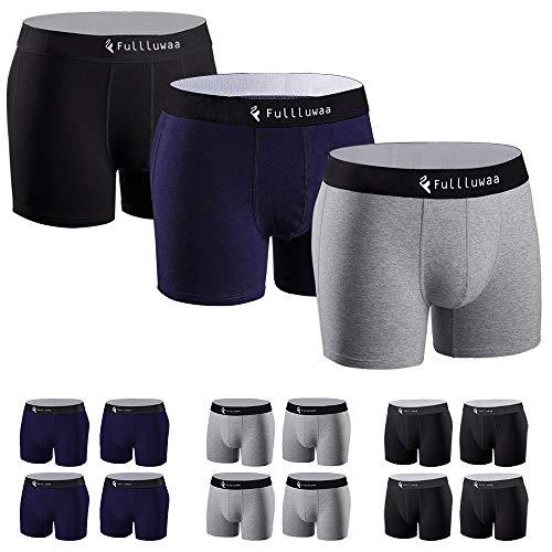 Fullluwaa Boxers (Lot de 12) Homme Coton Slip Fitted Trunk Caleçons,M,Noir x 4-gris x 4-bleu x 4