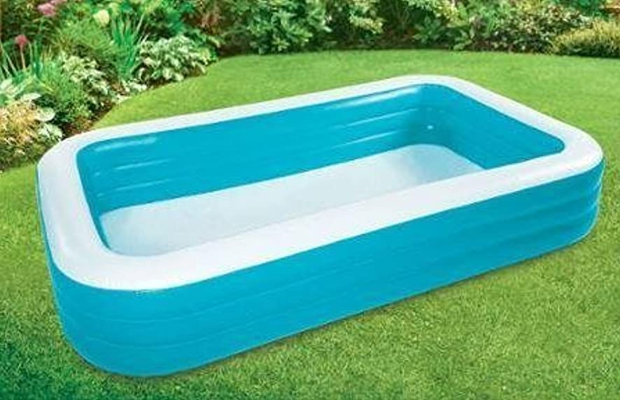 Pool for Kids Blue and White Inflatable Portable Lightweight Plastic PVC Construction Large and Comfortable Design Outdoor Use & eBook by Easy2Find