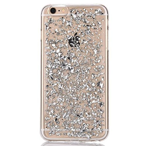 iPhone 6 Coque Sunroyal Etui iPhone 6S Transparent Bling TPU Gel Ultra Mince Paillette Case Cover Telephone Portable Housse Cas Silicone Skin Protection Shell Coquille Coverture Bumper – Argent
