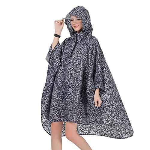 zhaoyangeng Waterdichte Polyester Vrouwen Regenjas Hooded Cape Voor Dames Mannen Wandelfiets Regen Poncho- Zwart Luipaard