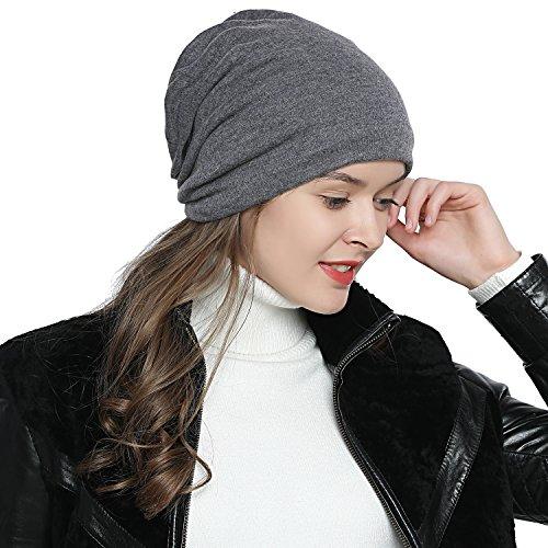 DonDon Atmungsaktive Mütze Beanie mit super flauschigem Innenfutter Feinstrick grau