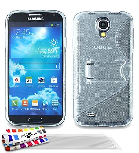 MUZZANO-Custodia Ultrasottile con Supporto e 3-Pellicola per Protezione Schermo Samsung Galaxy S4 Advance, Colore: Trasparente