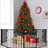 Costzon 204-Inch Wide Baby Safety Gate, 8-Panel Fireplace Fence with Walk-Through Door in...