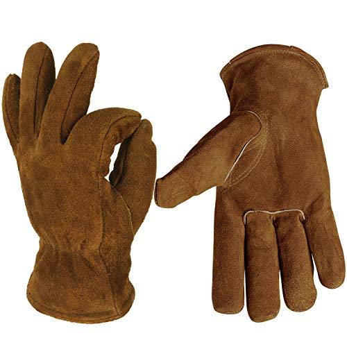 OZERO Winterhandschuhe mit Rindsleder und dickem Thermofutter zum Warmhalten der Hände bei schwerer Arbeit, 1 Paar