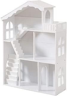 本棚 おもちゃ箱 子ども用本棚 絵本棚 子供用 キッズ おもちゃ 収納箱 3列 3段 収納ハウス 1-7歳 102x37x20CM 子供部屋 入園祝い 誕生日 プレゼント (白)