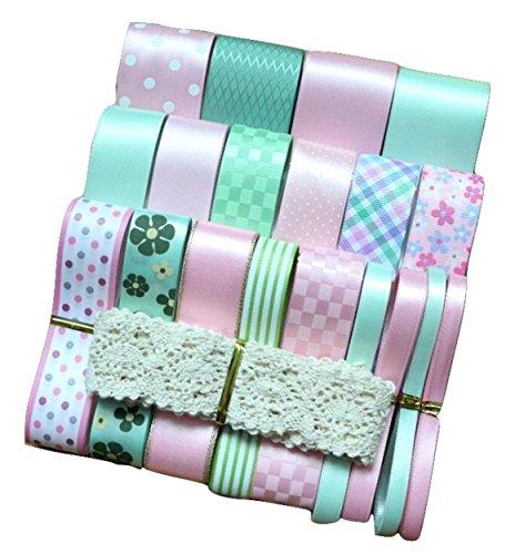 マーベラスデイ 楽MoMo リボン セット 詰合せ ハンドメイド 手芸 DIY 花束 ギフト ラッピング 包装 ピンク×グリーン