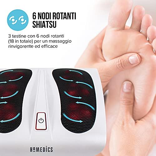 HoMedics Massage des Pieds Électrique chauffant - Appareil massant electrique Shiatsu pour pied - Option chaleur pour relaxation et détente de la voute plantaire