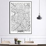 Mapa de la ciudad famosa España Madrid Impresión en lienzo Pintura Arte de la pared Imágenes Carteles e impresiones en blanco y negro Decoración para sala de estar 23.6'x 31.4' (60x80cm) Sin marco