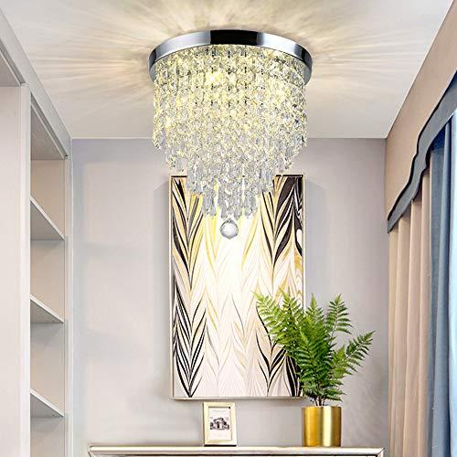 DLLT Crystal Chandelier Lighting, 3-Lights Modern Flush Mount Ceiling Crystal Light Fixture, H9.4'' x W9.8'' Mini Modern Chandelier Lighting Fixture for Bedroom, Hallway, Bar(Bulbs Not Included)