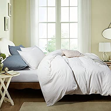 ATsense SEAMOUR Duvet Cover, Bedding Duvet Cover Set, 100% Washed Cotton, 3-Piece, Ultra Soft and Easy Care, Simple Style Bedding Set (Queen, Ivory White 7006-4)